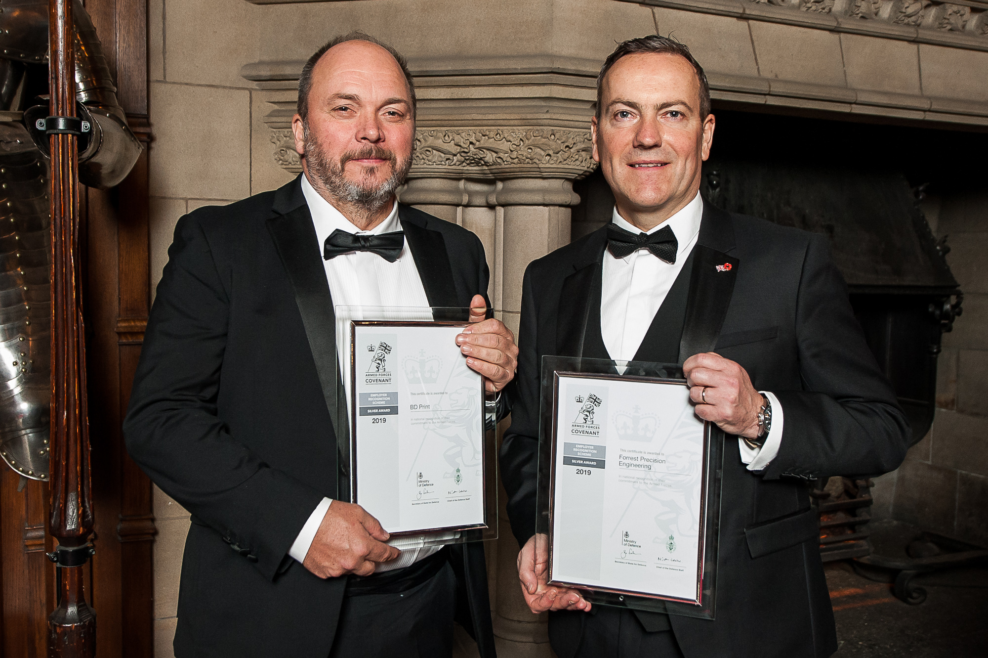 John Johnstone of BD Print and Scott Forrest of Forrest Precision Engineering hold their Silver ERS awards at a ceremony in 2019