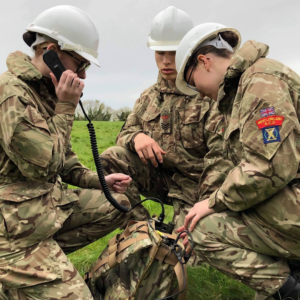 Army Cadets with communications equipment
