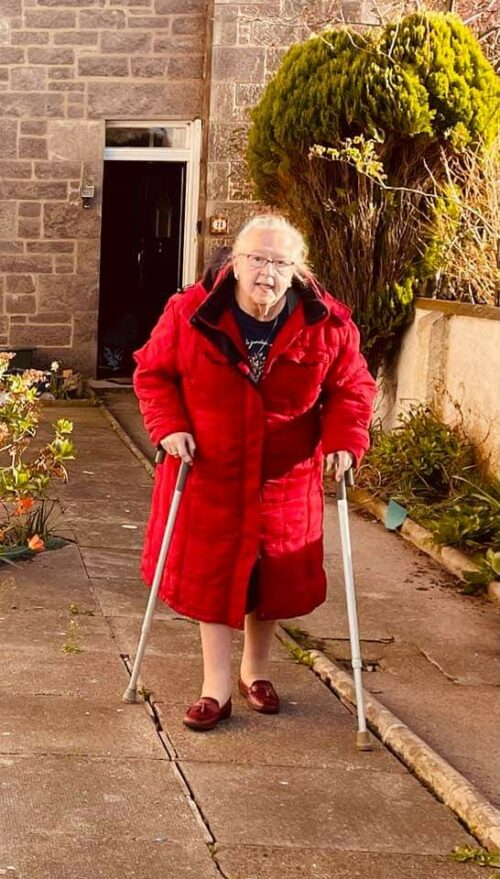 Woman with walking sticks