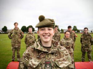 Cadet smiling after archery