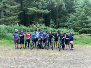 A group of mountain bikers